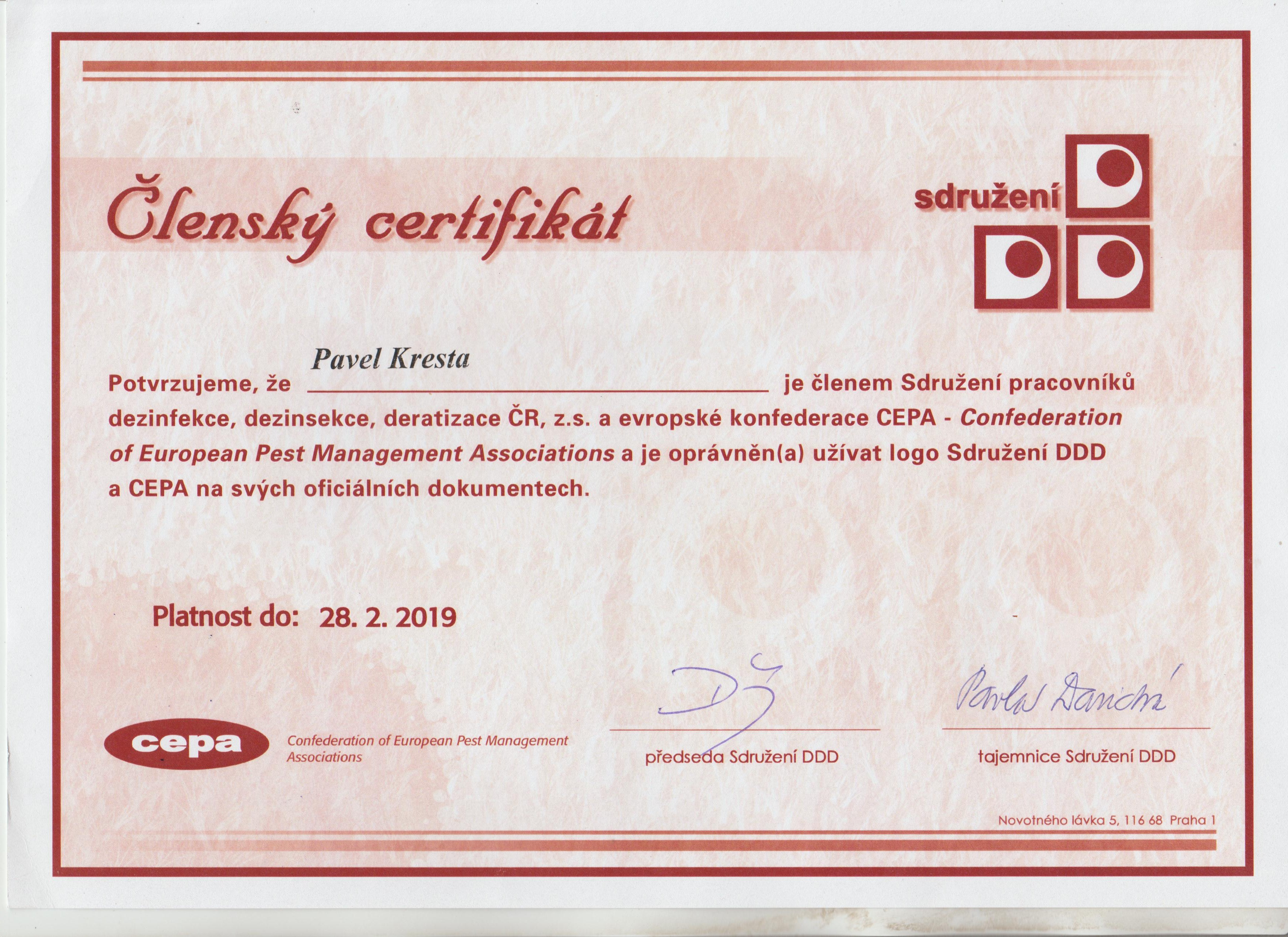 Certifikát  DDD  2018