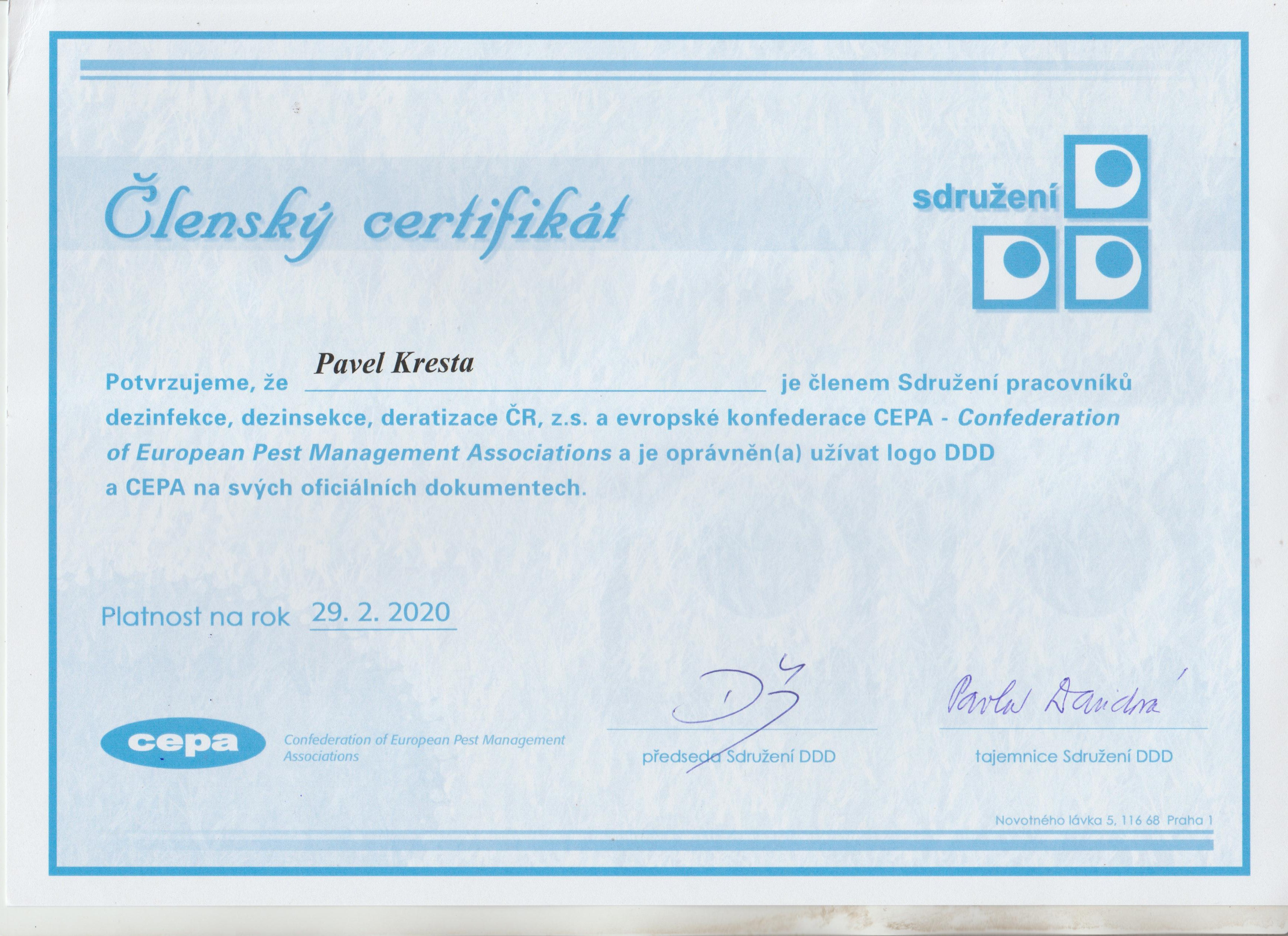Certifikát DDD 2019